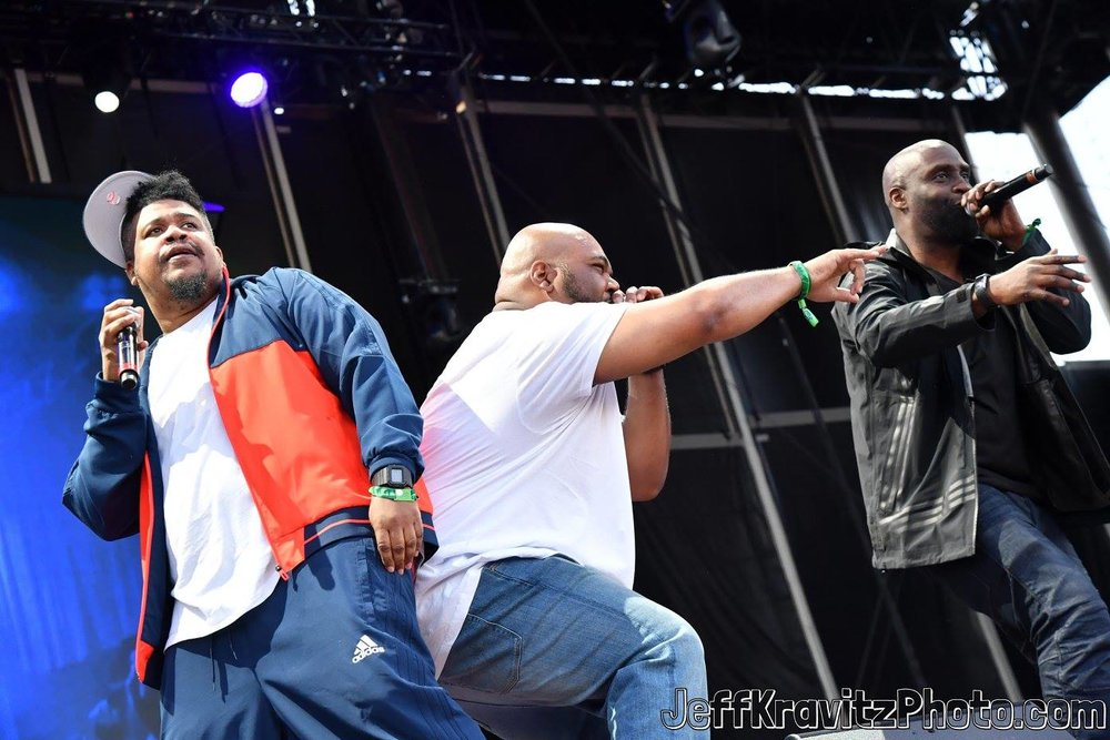 Dave, Maseo, and Posdnuos of De La Soul perform on Downtown Stage during day 3 of the 2017 Life Is Beautiful Festival on September 24, 2017 in Las Vegas, Nevada.