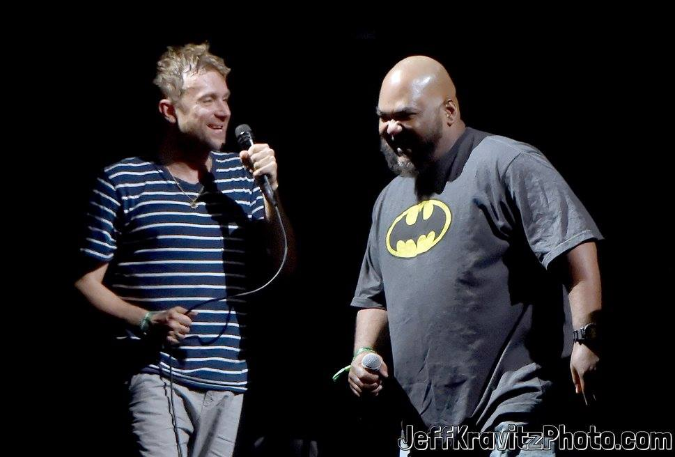 Damon Albarn (L) of Gorillaz performs with Maseo of De La Soul on Downtown Stage during day 3 of the 2017 Life Is Beautiful Festival on September 24, 2017 in Las Vegas, Nevada.