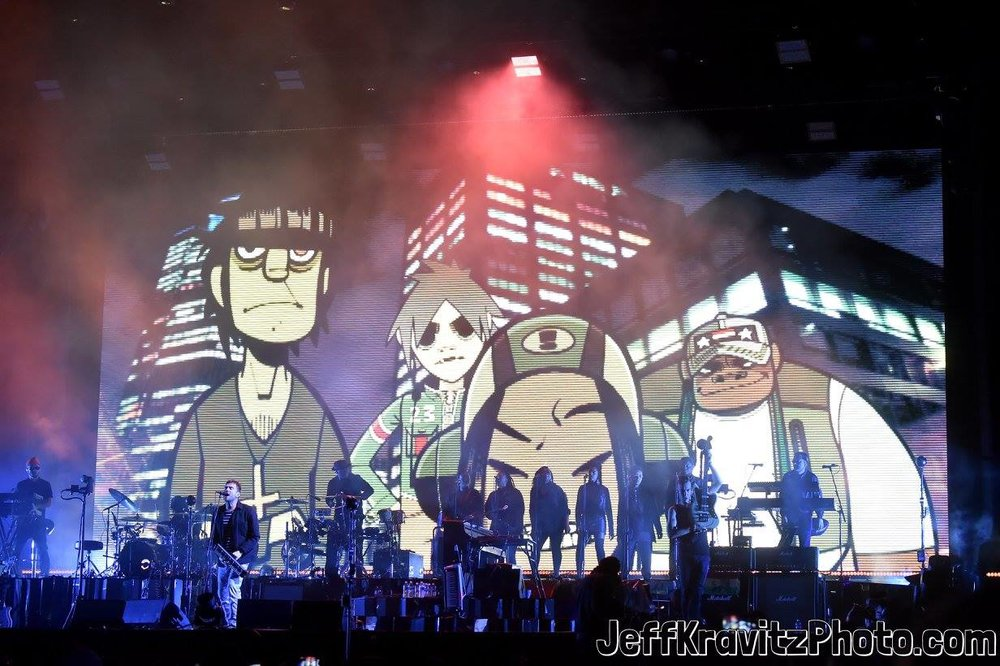 Gorillaz perform on Downtown Stage during day 3 of the 2017 Life Is Beautiful Festival on September 24, 2017 in Las Vegas, Nevada.