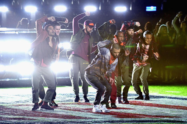 Halftime would not be complete without the dance round the NFL emblem