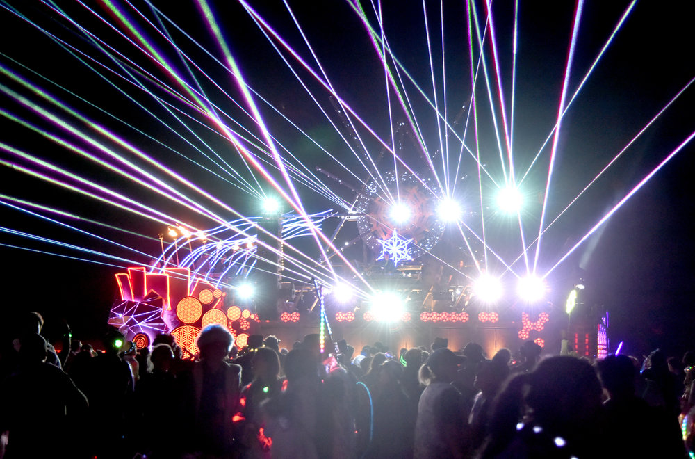 Everyone loves the Mayan Warrior art car, but every time I come across it the light show is way better than the DJs