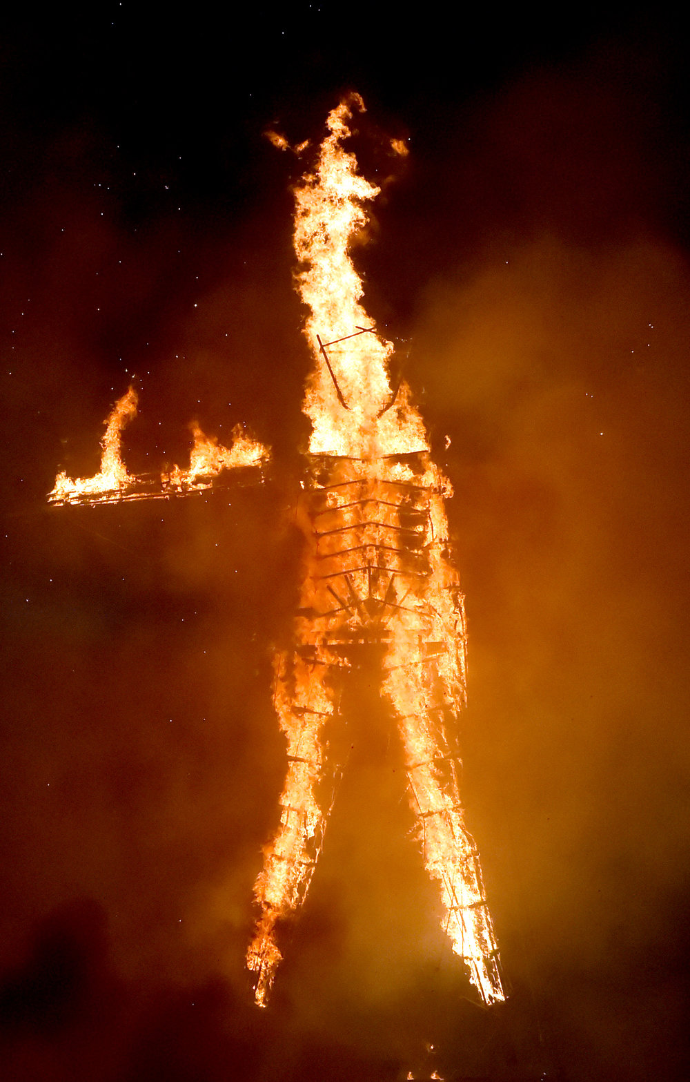 Which led to this illusion of a one armed man with a flaming middle finger
