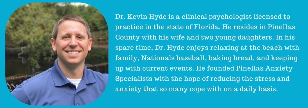 Dr. Kevin Hyde, Palm Harbor, FL psychologist treating anxiety, stress, worry, and panic. Palm Harbor, Florida