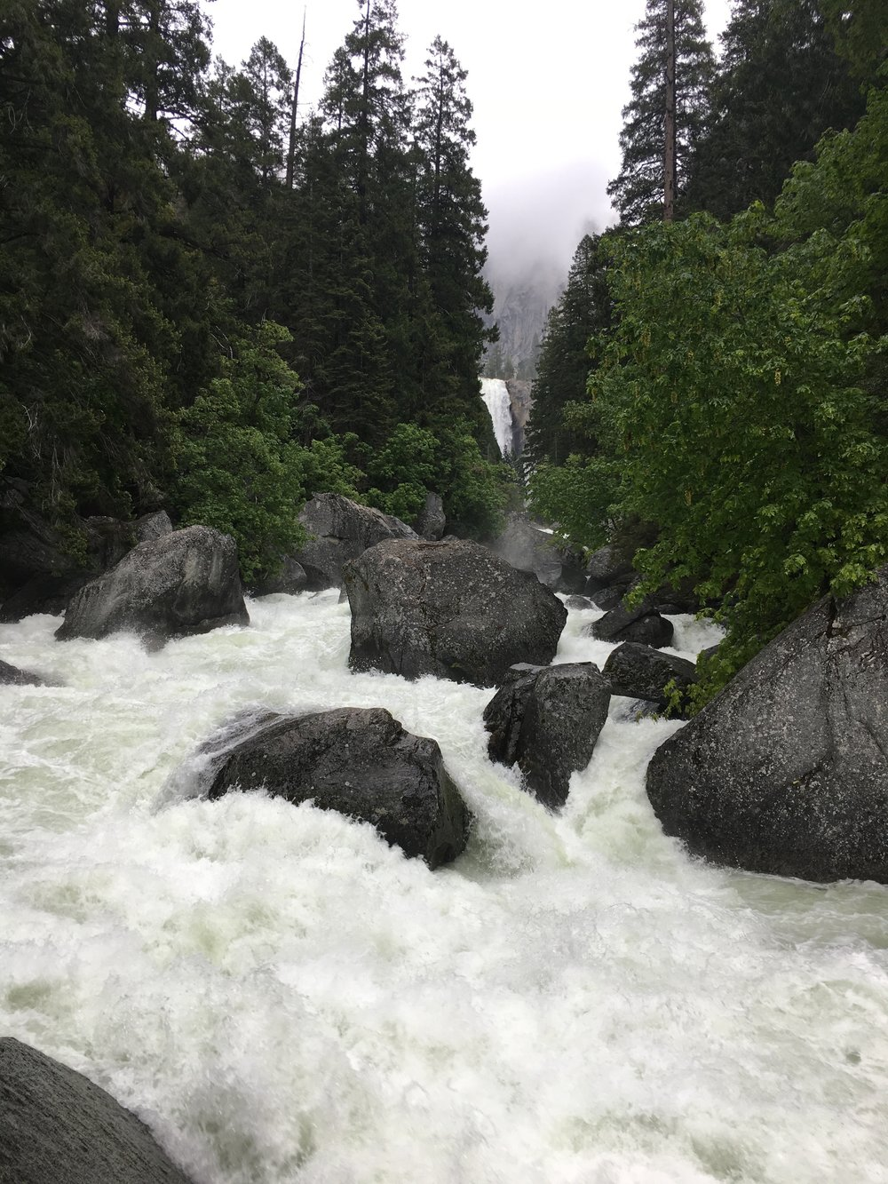 View down the Merced River from Vernal Falls footbridge