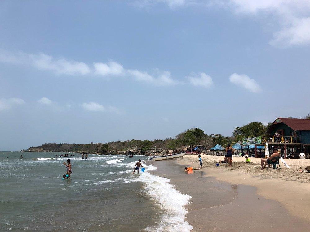 Looking north along the beach of Playa Linda.