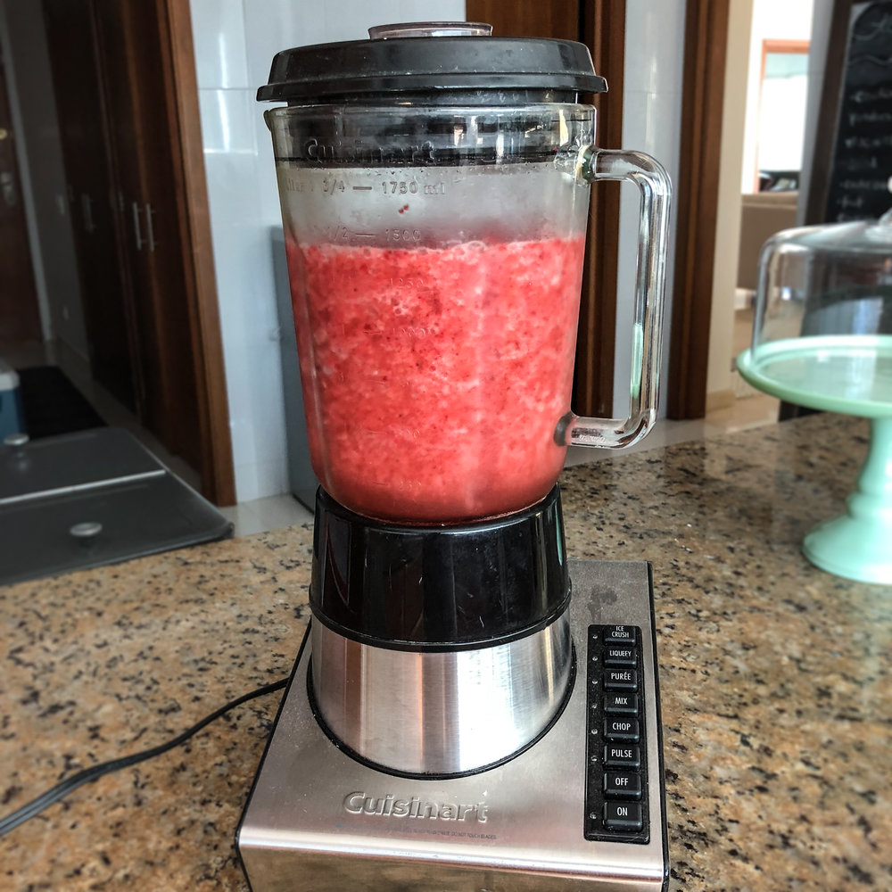 Blended water and strawberries -