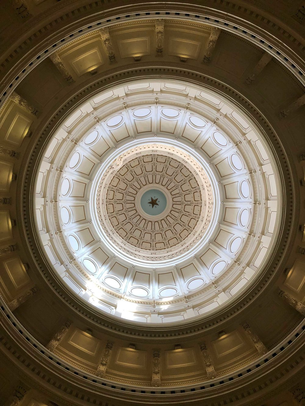 The dome of the Texas State Capitol in Austin, Texas.