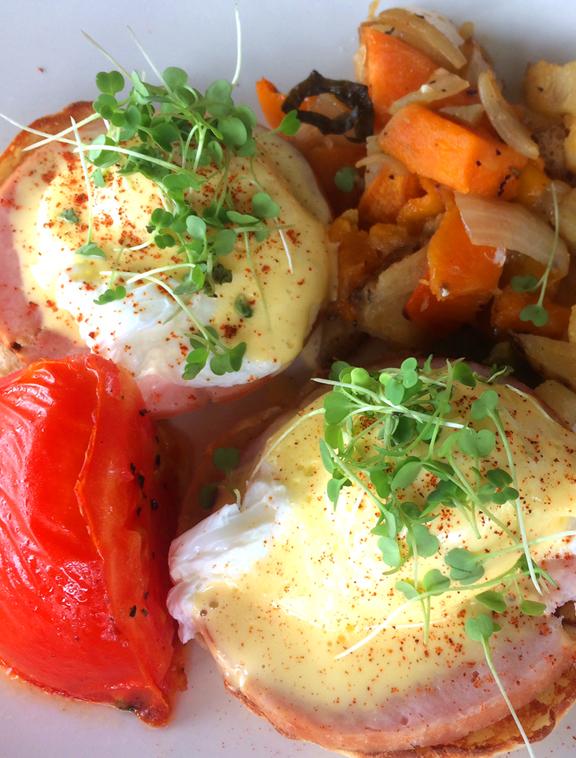 - Eggs Benedict with Arugula Microgreens