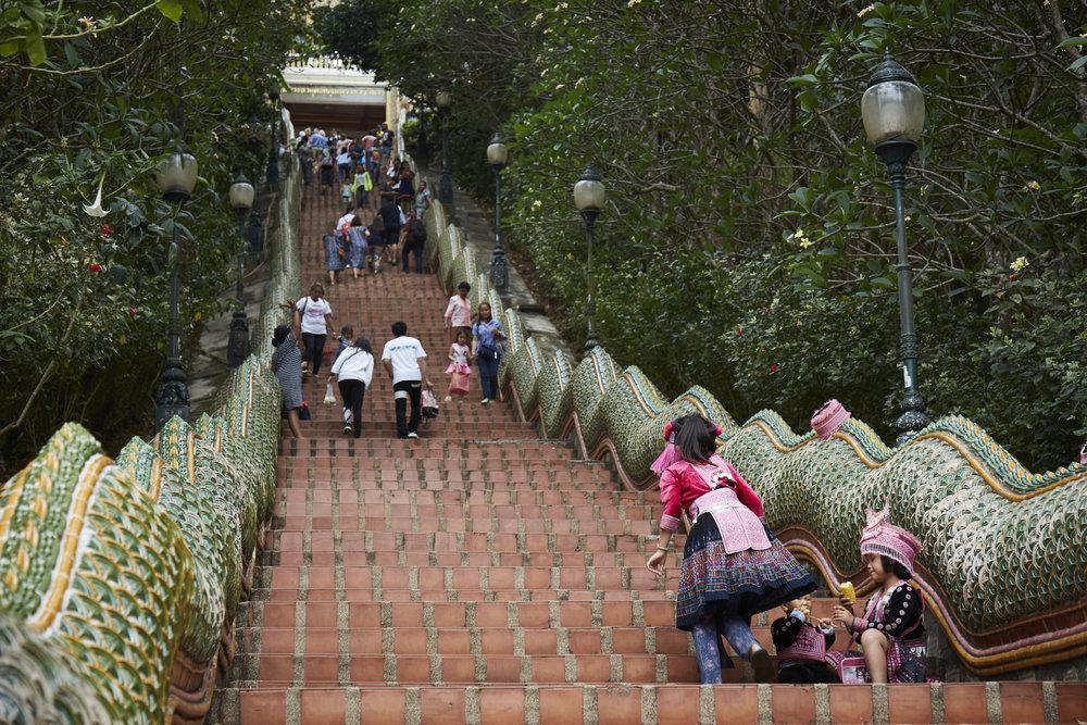 the steps at Wat Doi Siu Thep