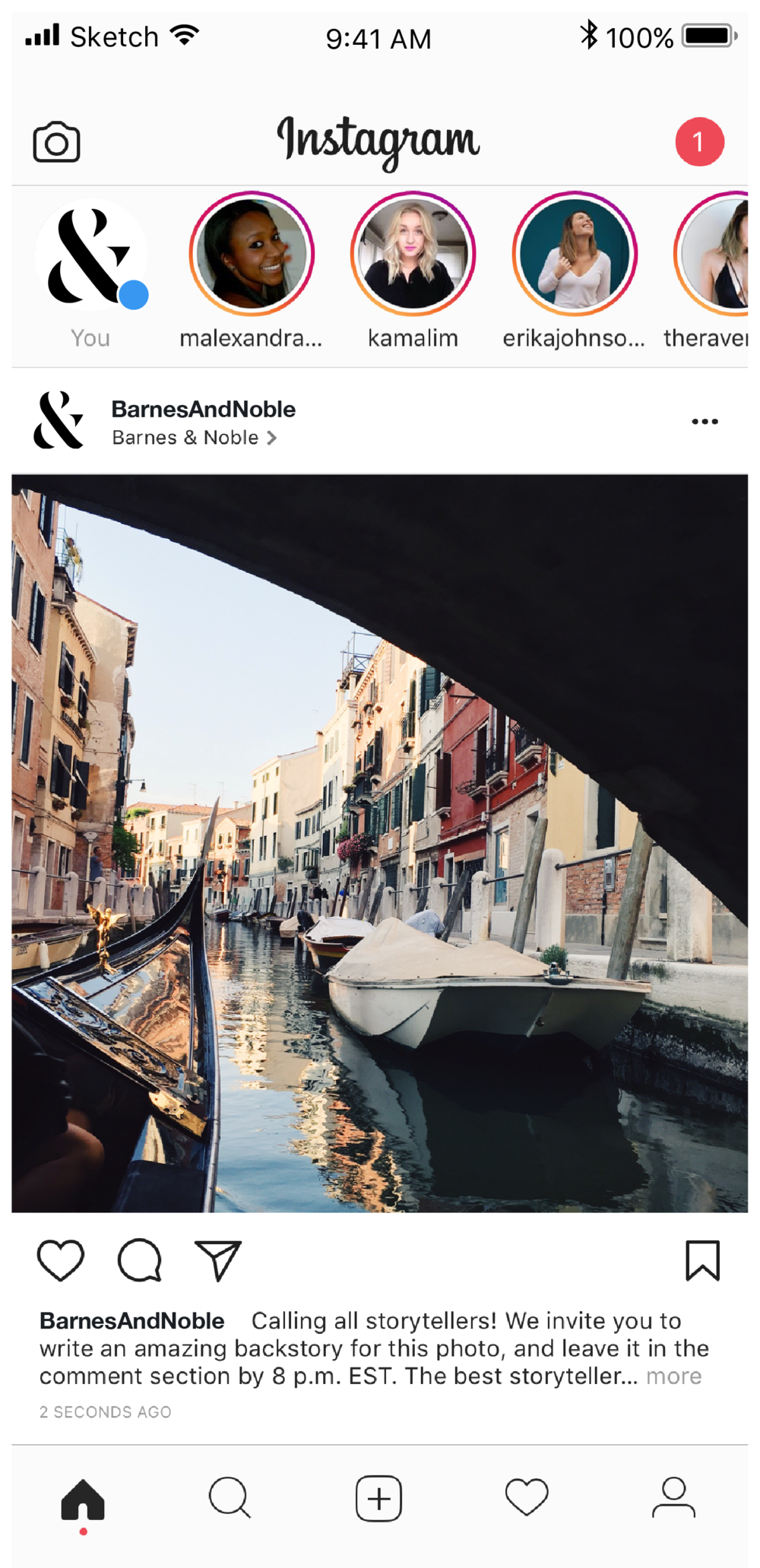 Barnes & Noble Instagram - Create a backstory for sponsored images.