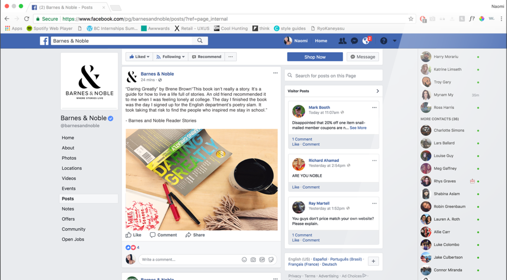 Facebook - Barnes & Noble sponsored posts would include stories shared by readers about how they found books and/or stories.