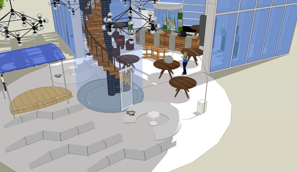 Main Floor - The main floor would include modular seating, a reimagined cafe, retail, and a multiuse performance area.