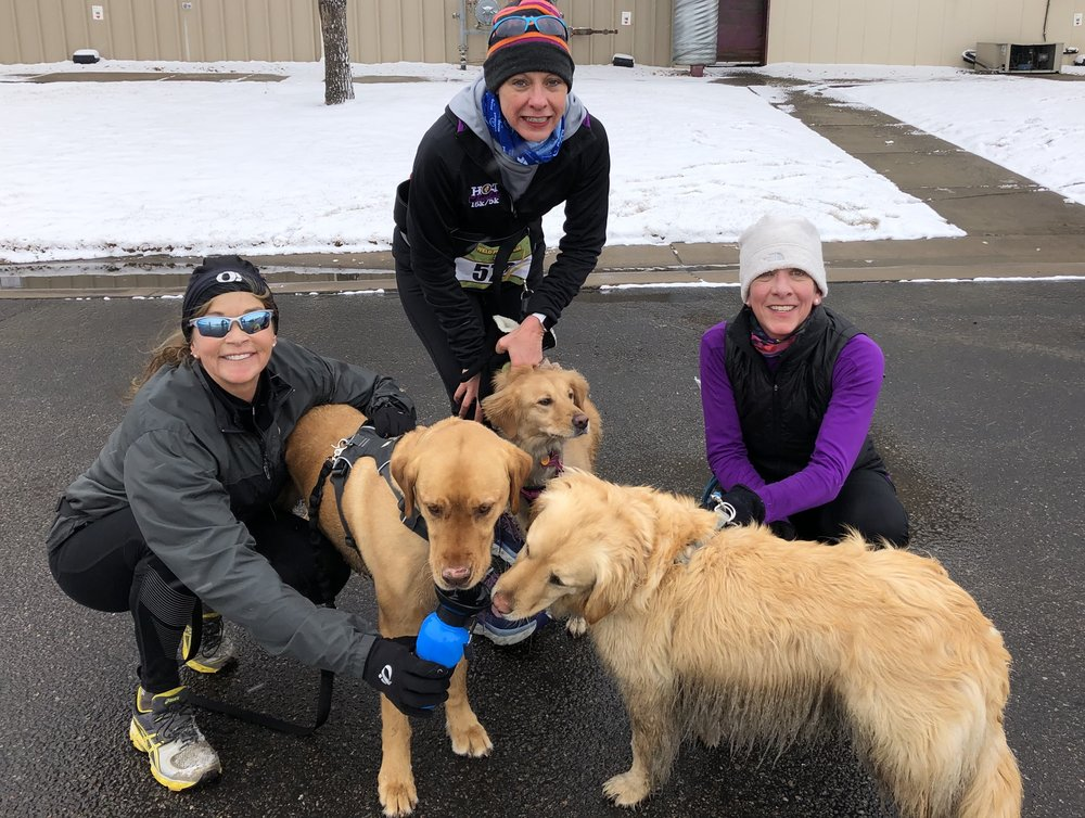 My friends, Jenny Weber and Lisa Buxman and their two fur-babies ran with me.
