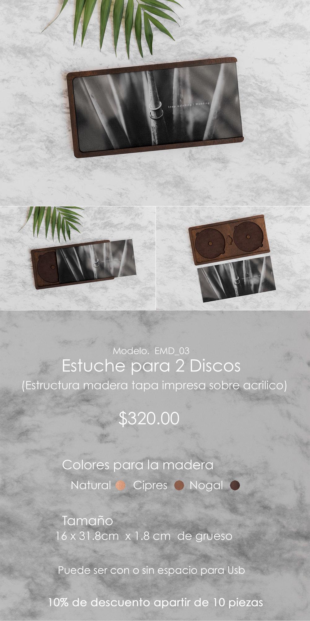Estuche 2 discos Madera/Acrilico