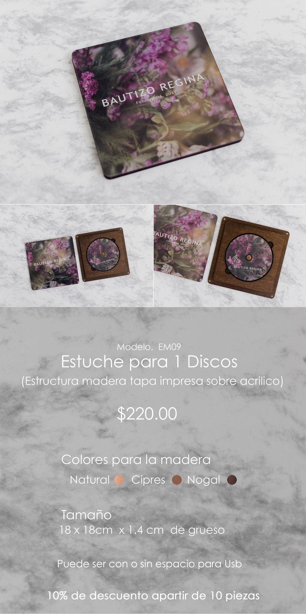 Estuche 1 discos Madera/Acrilico