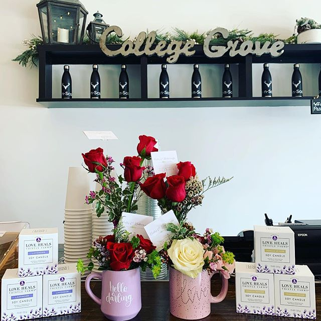 We have amazing flower arrangements y'all starting today from @belles_and_buttercups! Valentines Day specials $25 (Small), $50 (medium) and $85 (large) arrangements. Come see us and shop small! 💐 💕