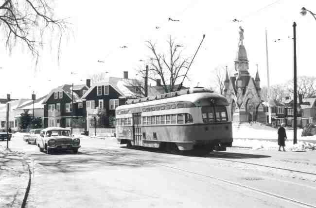 Lonely trolley # 3211 can be seen approaching the Monument at South and Centre Streets in this 1967 photo after a snow storm.