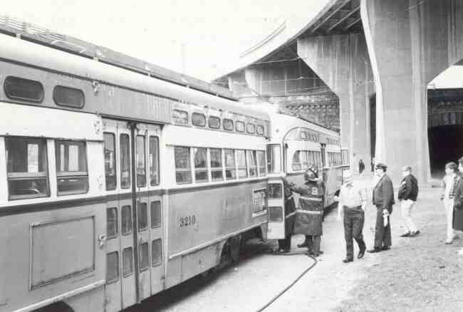 Trolley #3210 is shown in this 1967 photo after an electrical fire forced the evacuation of its passengers.