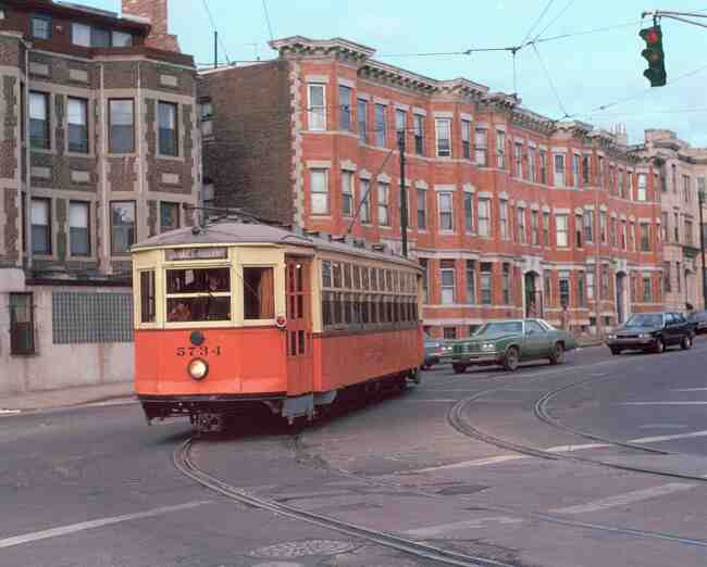 This vintage Boston Elevated trolley # 5734 makes its way onto South Huntington Ave. during this 1985 photo.