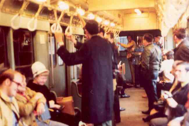The morning commuter train from Green Street Station seems pretty lively in this 1970 photo as they depart for Boston and beyond.