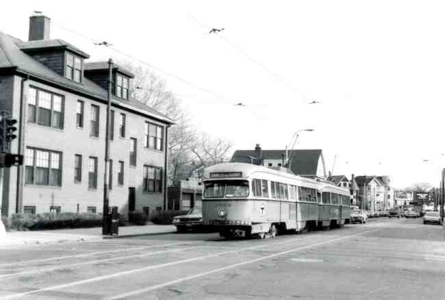 Park Street bound trolley # 3052 can be seen traveling on South Huntington Avenue near Perkins Street in this 1971 photo.