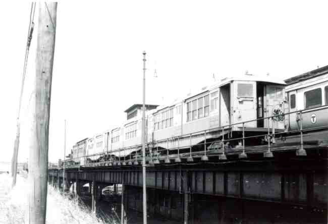 The MBTA trains are seen stored at the Forest Hills station in this 1972 photo.
