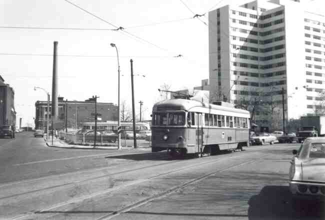 Trolley # 3329 travels on South Huntington Ave. on its way to Northeastern University on Huntington Ave. The VA Hospital towers to the right of the photo.