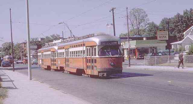 Trolley # 3219 travels on Centre Street near Spring Park Ave. on its way to Park Street station in this 1970s photo.
