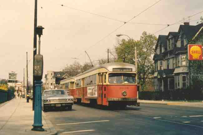 Trolley # 3046 passes the Mary E. Curley School on Centre Street in this 1970 photo.