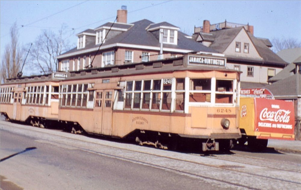 A trolley on South Huntington Ave. in 1942.
