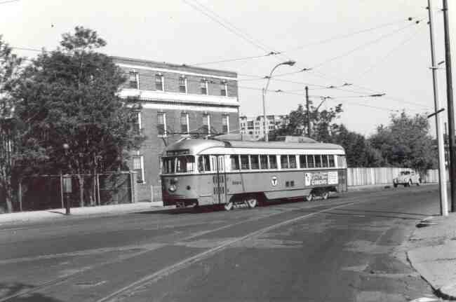 Trolley # 3324 travels on South Huntington Ave. near the Heath Street Loop in this 1968 photo. The Ringling Bros. Circus is being advertised on the side of the trolley.
