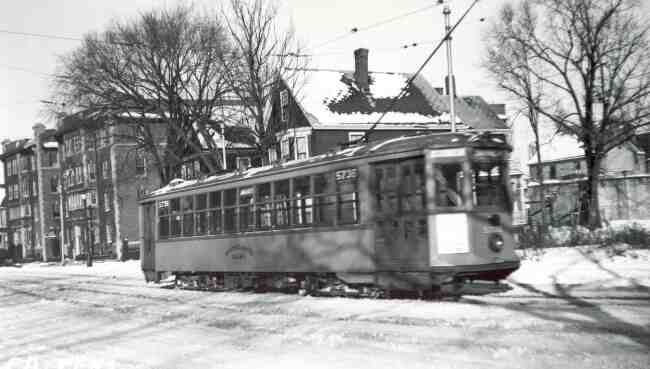 Boston Elevated trolley #5736 is shown in this 1938 photo on South Street. St. Mark Street is on the right while the Arborway is directly to the left of the trolley.