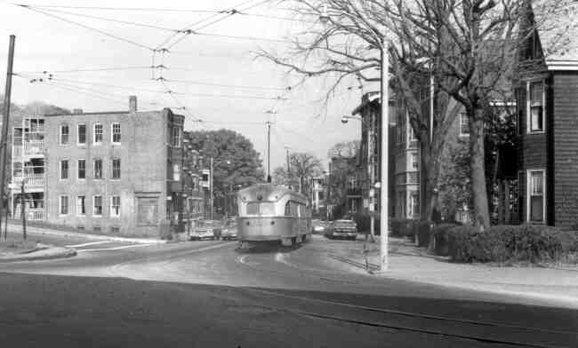 Trolley # 3056 winds its way onto South Street and the Arborway near St. Mark Street in this 1960s era photo.