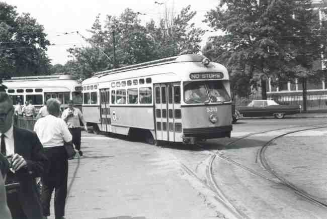 Trolley # 3313 enters the Heath Street Loop during this 1968 photo op. Longwood Hospital can be seen behind the trolley.