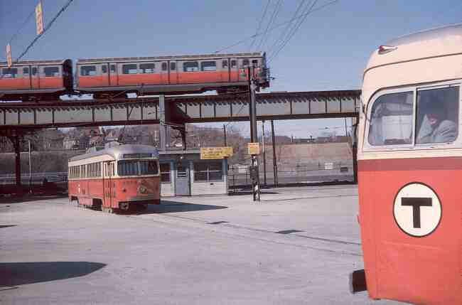 Here's an interesting scene captured in this 1966 Arborway Yard photo showing three different forms of public transportation offered by the MBTA. Notice the driver posing for the photographer on his trip out of the yard.