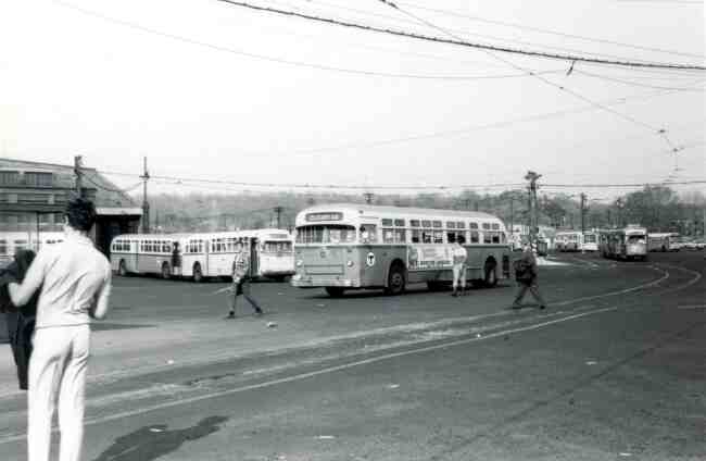 The Cleary Square bus is getting ready to depart from the Arborway yard in this 1970 photo.