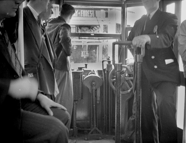 An interior view of a 4373 type trolley during an excursion on the Arborway line in 1941.