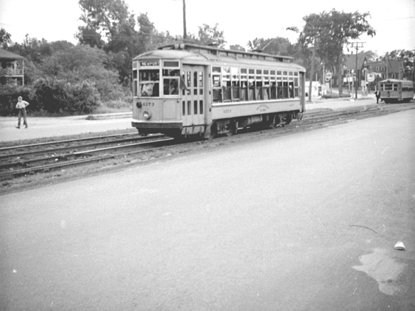 A 4373 type car built for the Boston-Lowell line and other long-haul lines in the Merrimac Valley. It was never commonly used in this area for standard fare service and is shown here on an excursion trip for trolley fans in 1941.