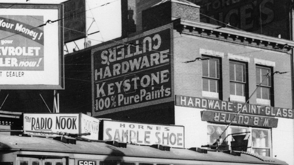 Detail of Dudley Square signs. February 1938.