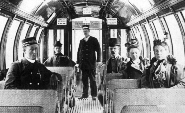 Enlargement. Interior view of a Barrell Car, 1897.