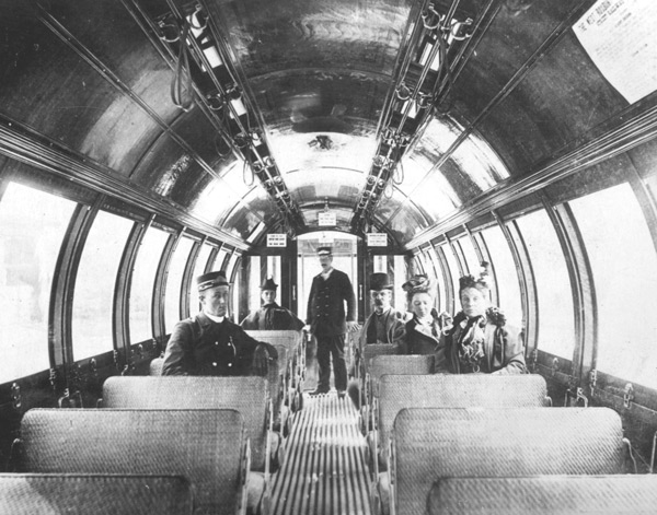 "Interior view of a ""Barrell Car"". 1897."