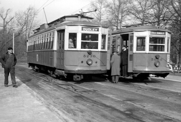 The Seaver Street Loop provided a turnaround for the line to Roxbury. The line crossed Seaver Street and entered Franklin Park were the Loop was located. 1949.