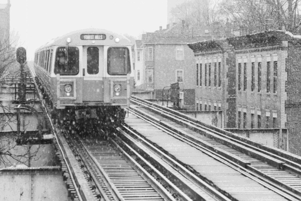 An Orange line trains travels down Washington Street in Jamaica Plain, March 1987. Photograph courtesy of Chris Lovett, Neighborhood Network News.