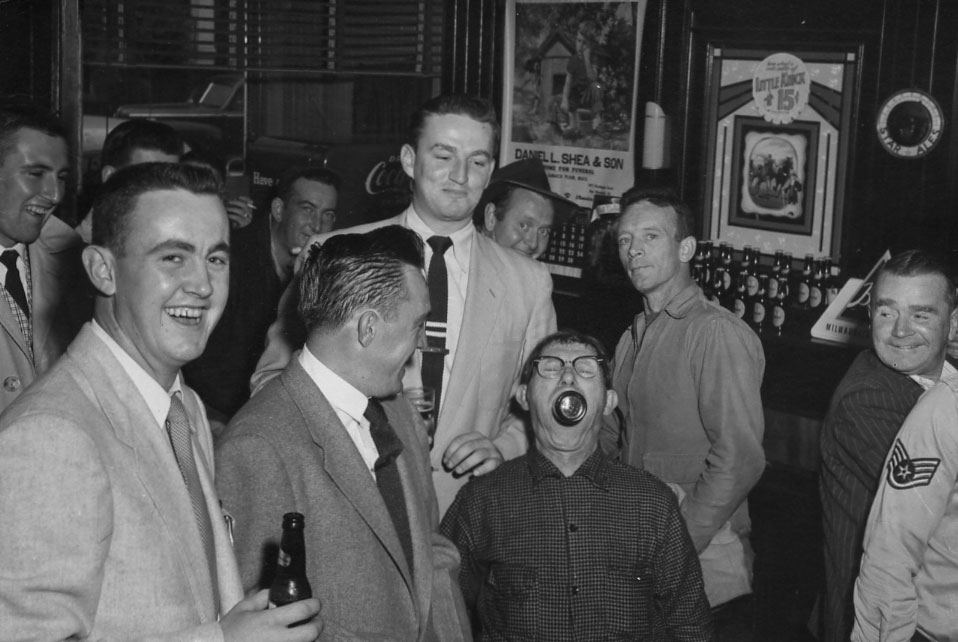 This group of gentlemen are enjoying a beer or two at Kilgariff's Tavern at 131 Green Street. Date is unknown. Photograph courtesy of Cathy Andrews.