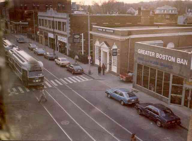 This 1980s view of Centre St. looks south from Seaverns Ave. towards Burroughs St. Courtesy of Fran Perkins.