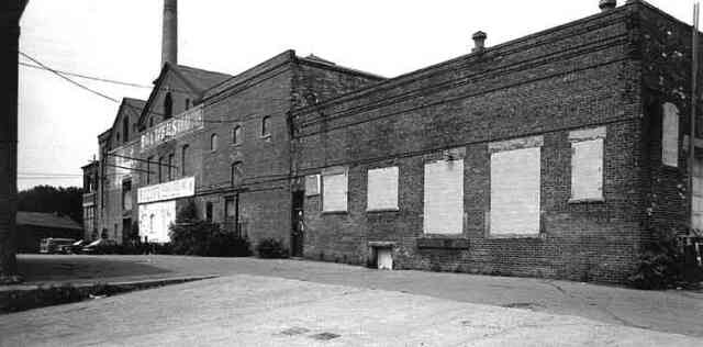 This early 1980s photograph shows the main building the Haffenreffer brewery complex just before renovations on the building began. Courtesy of the Jamaica Plain Neighborhood Development Corporation