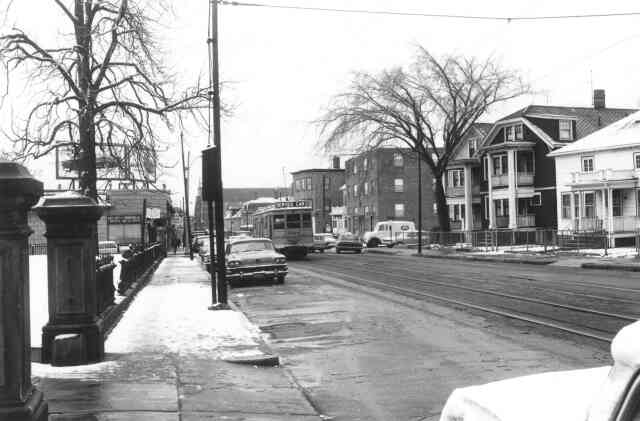 A 1965 view of South St. looking south from Centre St. The entrance to Curtis Hall is seen on the left. Courtesy of Frank Norton.