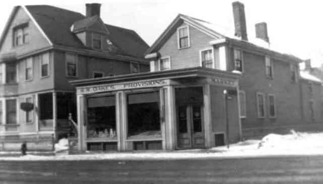 Oakes Provisions stood at the corner of Thomas and Centre Streets on the current site of the donut shop. Courtesy of Florence Oakes.