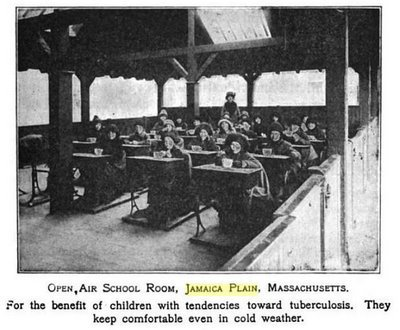 This photograph of an open air classroom in Jamaica Plain was published in the book Community Civics in 1921. This type of classroom was thought to protect children from tuberculosis infection and was part of an open air classroom movement in Europe and the United States.