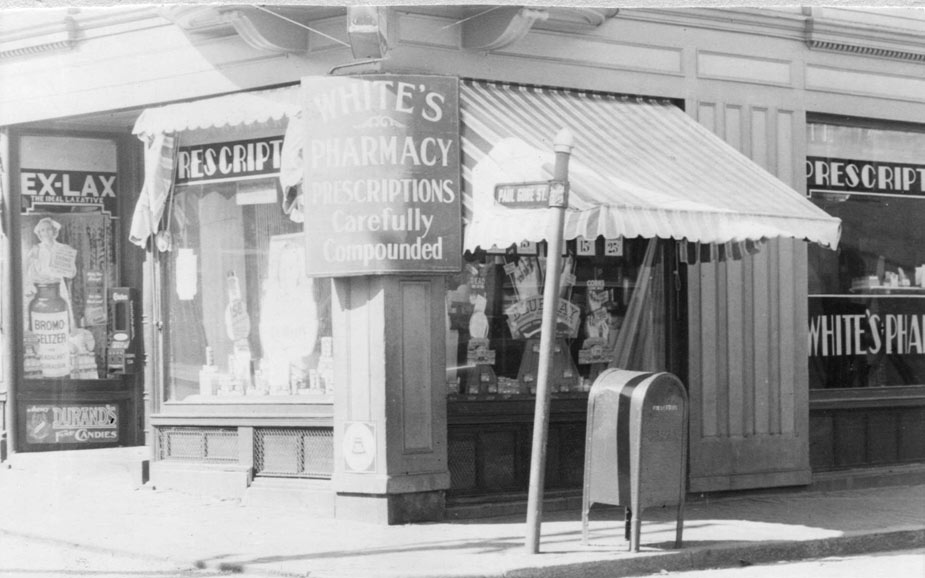White's Pharmacy on Paul Gore Street.  Courtesy of Jane Bickford, Boston Public Library, Connolly Branch.